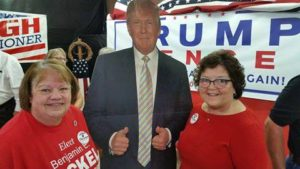 At the Grand Opening of Hocking County Republican Party Headquarters,(left) Denise Whalen, President, Hocking County Women's Republican Club, Donald Trump, and (right) Joy Padgett, Ohio Trump Campaign and Chair of the Ohio Women's Coalition for Trump.
